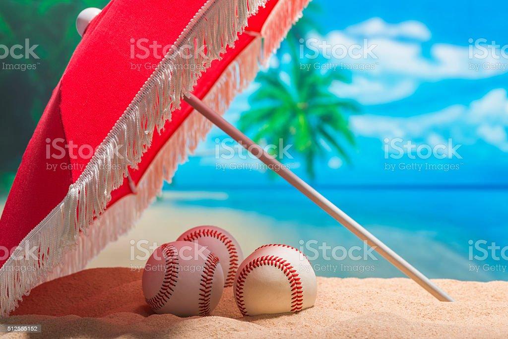 Three Baseball on the beach for Spring Training Grapefruit League stock photo