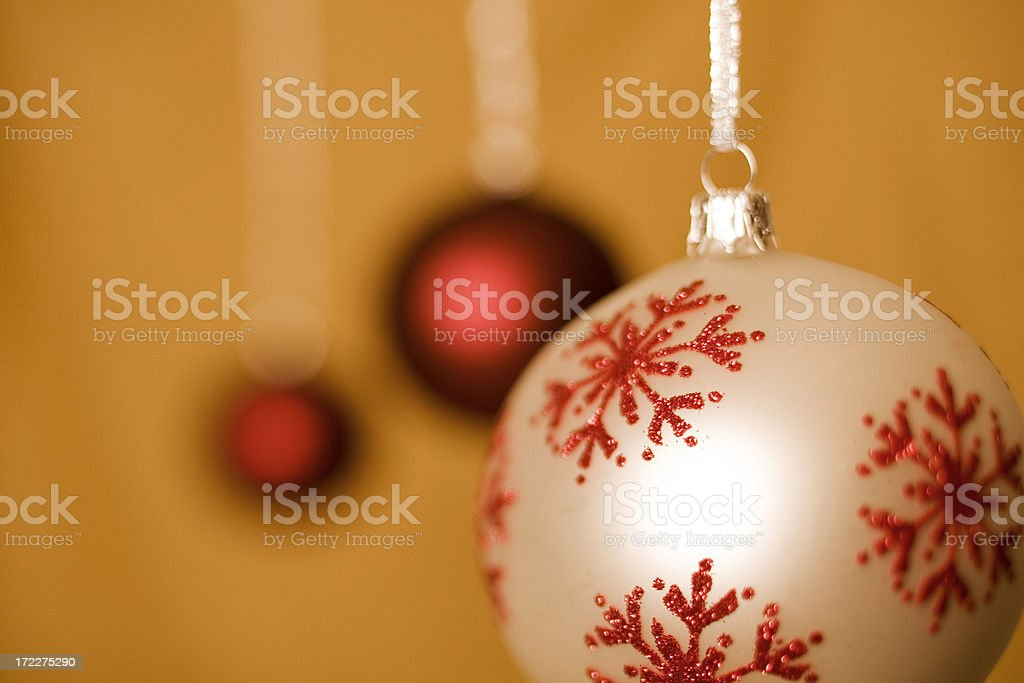 Three Baubles Hanging royalty-free stock photo