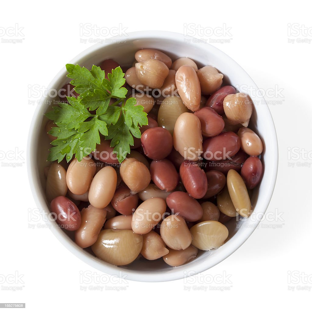 Three Bean Mix in Bowl Isolated stock photo