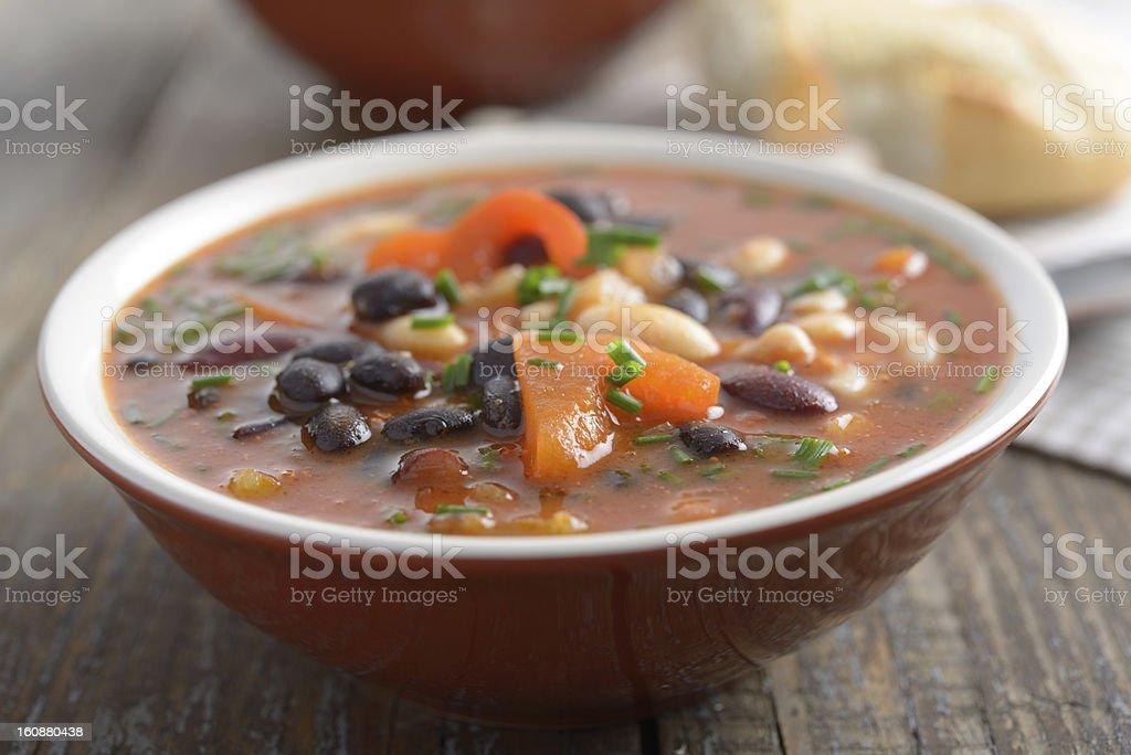 Three bean soup stock photo