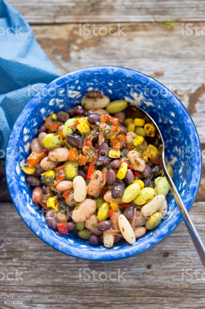 Three beans salad stock photo