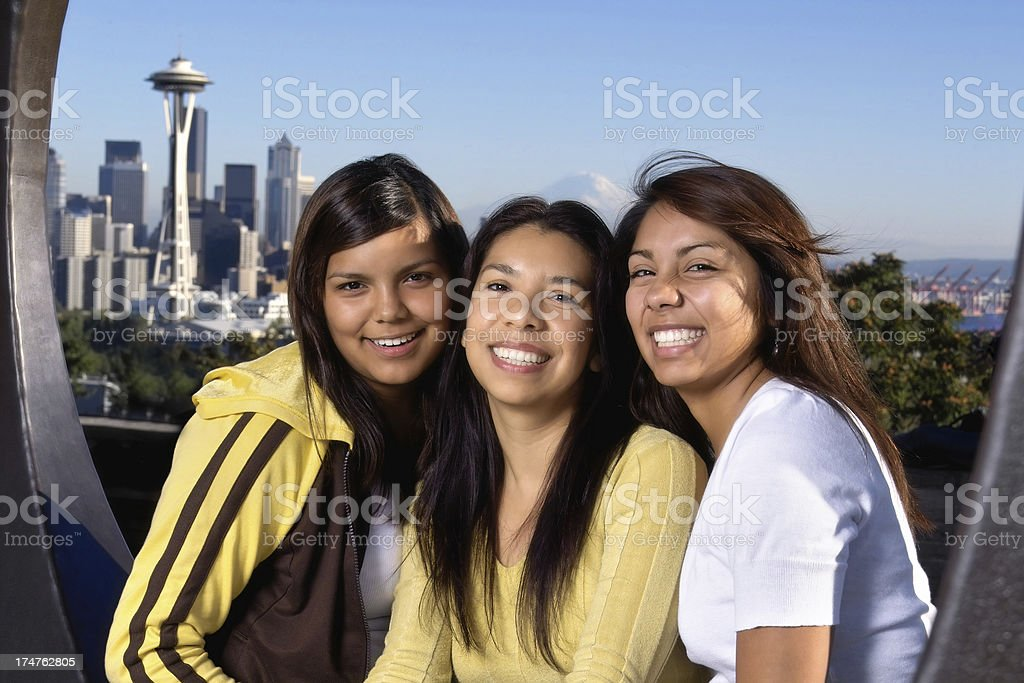 Three Beauties in The City royalty-free stock photo