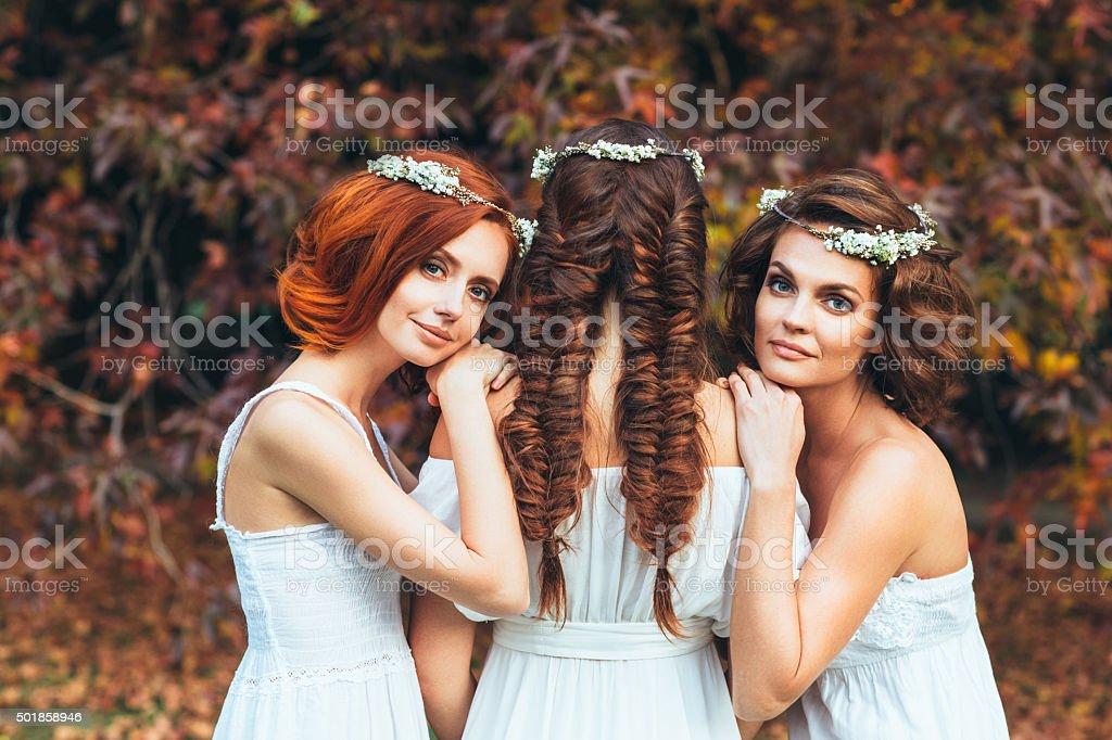 Three beautiful bride stock photo