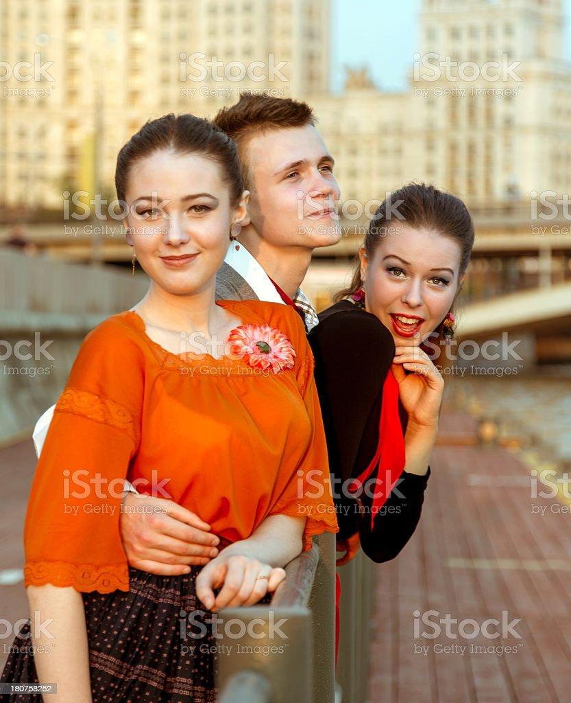 Three beautiful friends urban portrait royalty-free stock photo