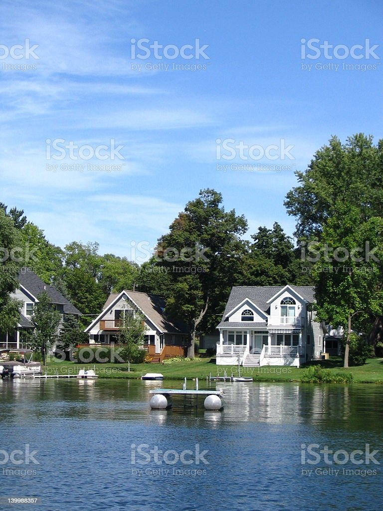 Three beautiful houses on the lake  stock photo