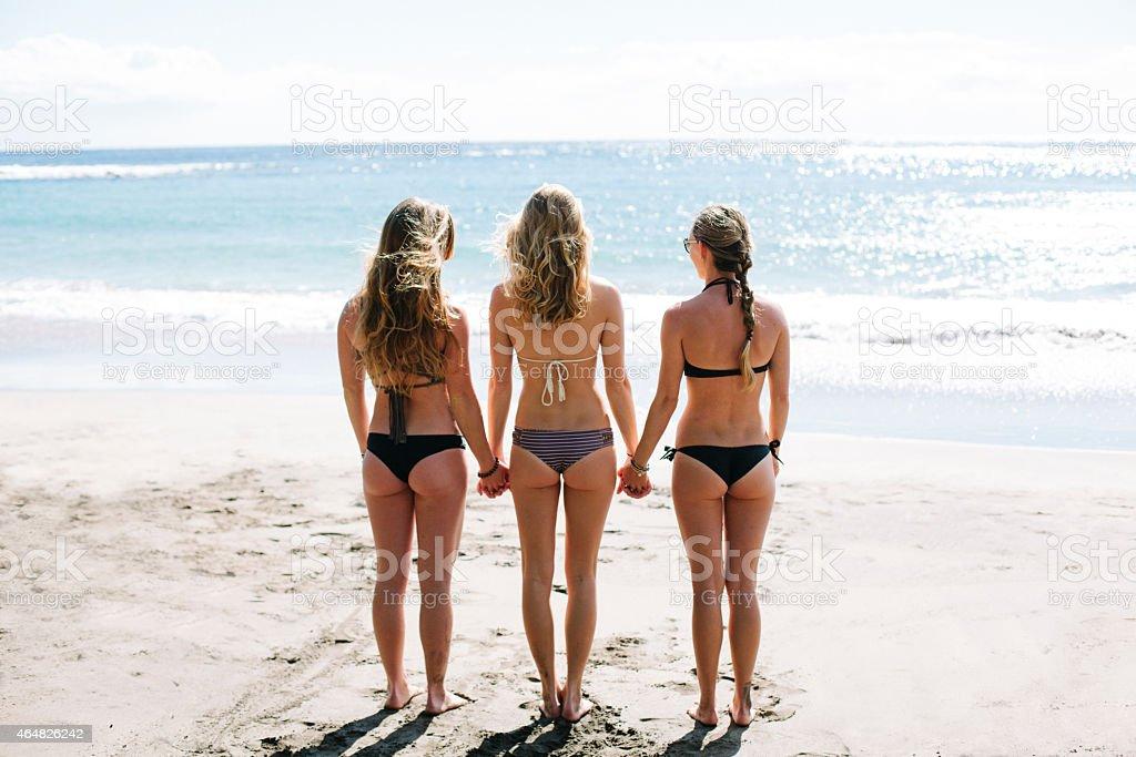 Three Beautiful Women at the Beach stock photo