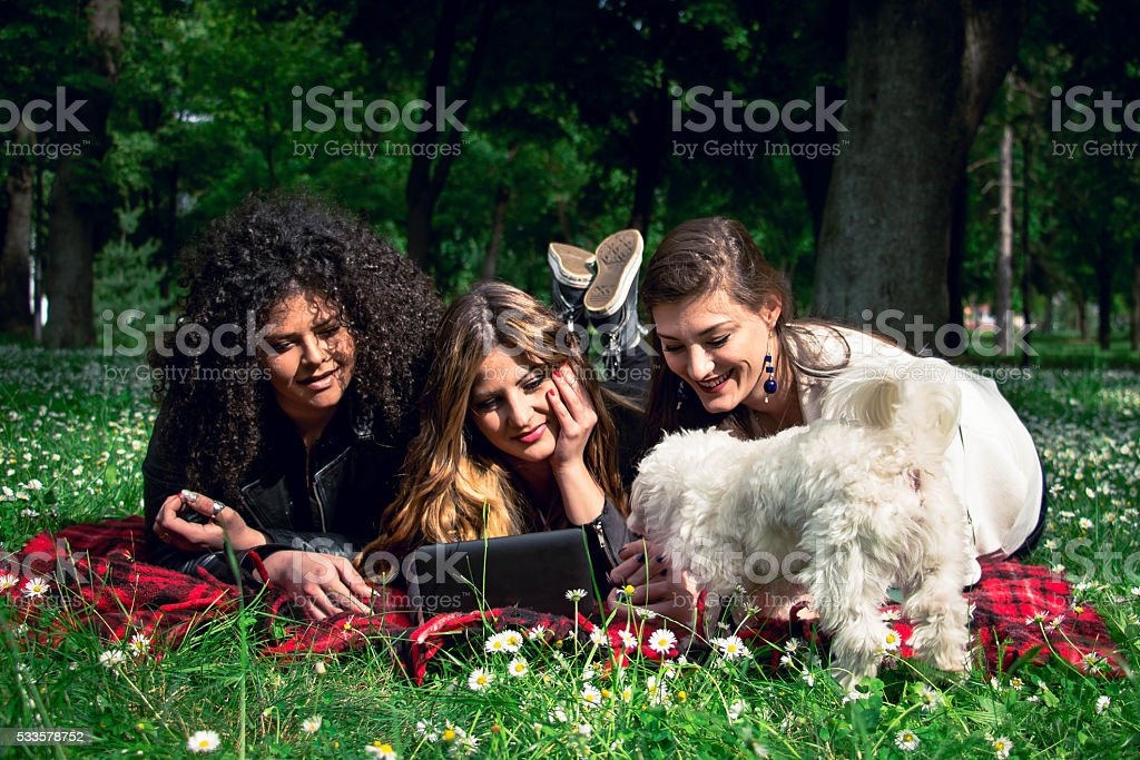 Three beautiful women using a tablet in the park stock photo
