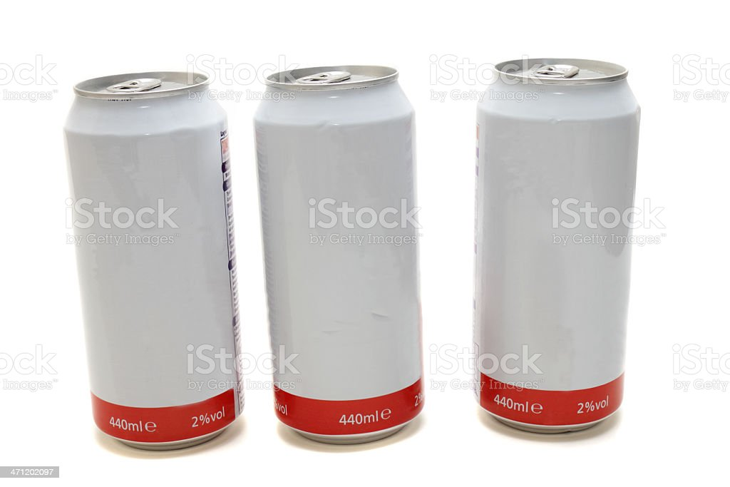 three beer cans - two percent proof stock photo