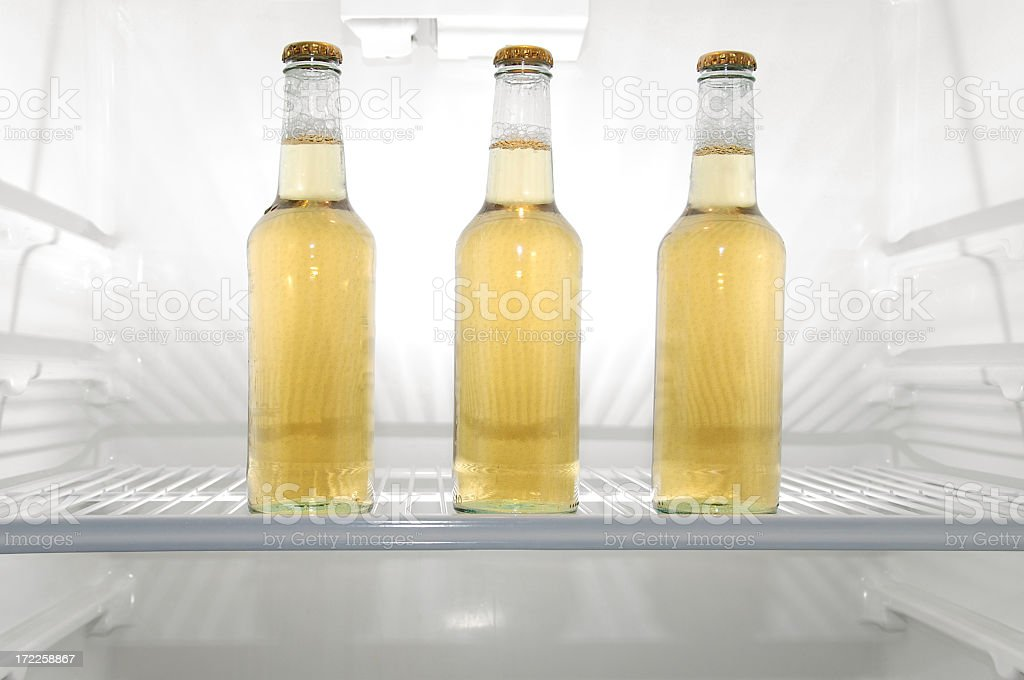 Three Beers in the Refrigerator stock photo