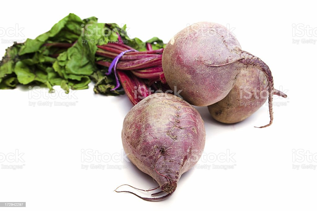 Three Beets on White royalty-free stock photo