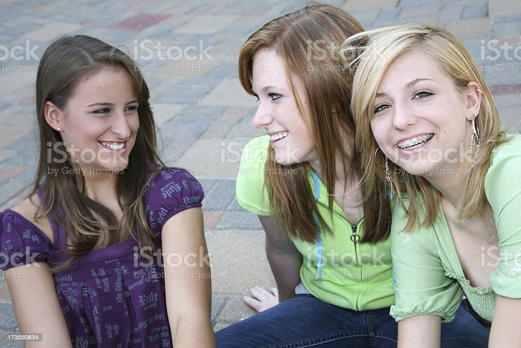 Three Best Friends Hanging Out Together stock photo