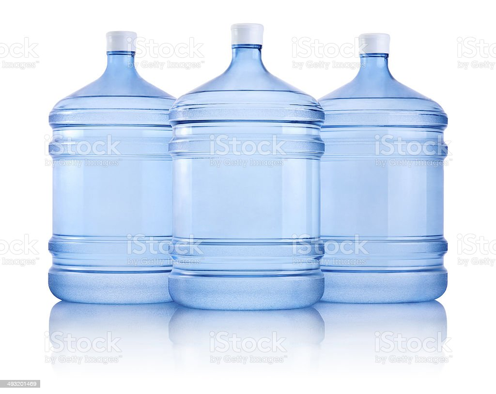 Three big bottles of water isolated on a white background stock photo