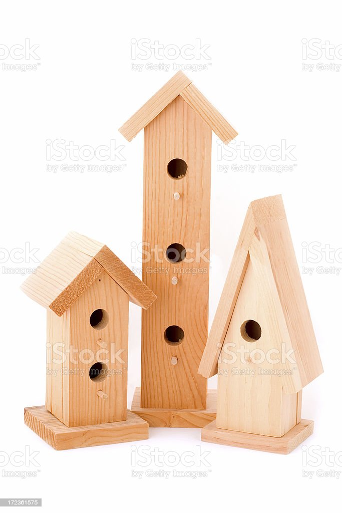 Three Bird Houses royalty-free stock photo