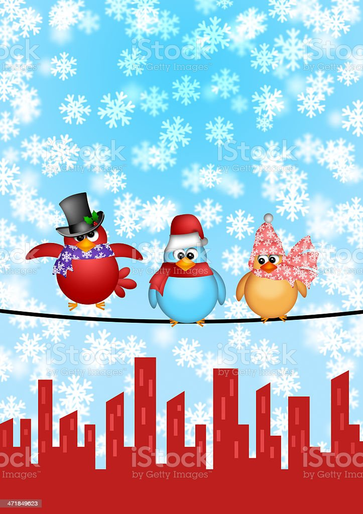 Three Birds on a Wire with City Skyline Christmas Scene royalty-free stock photo