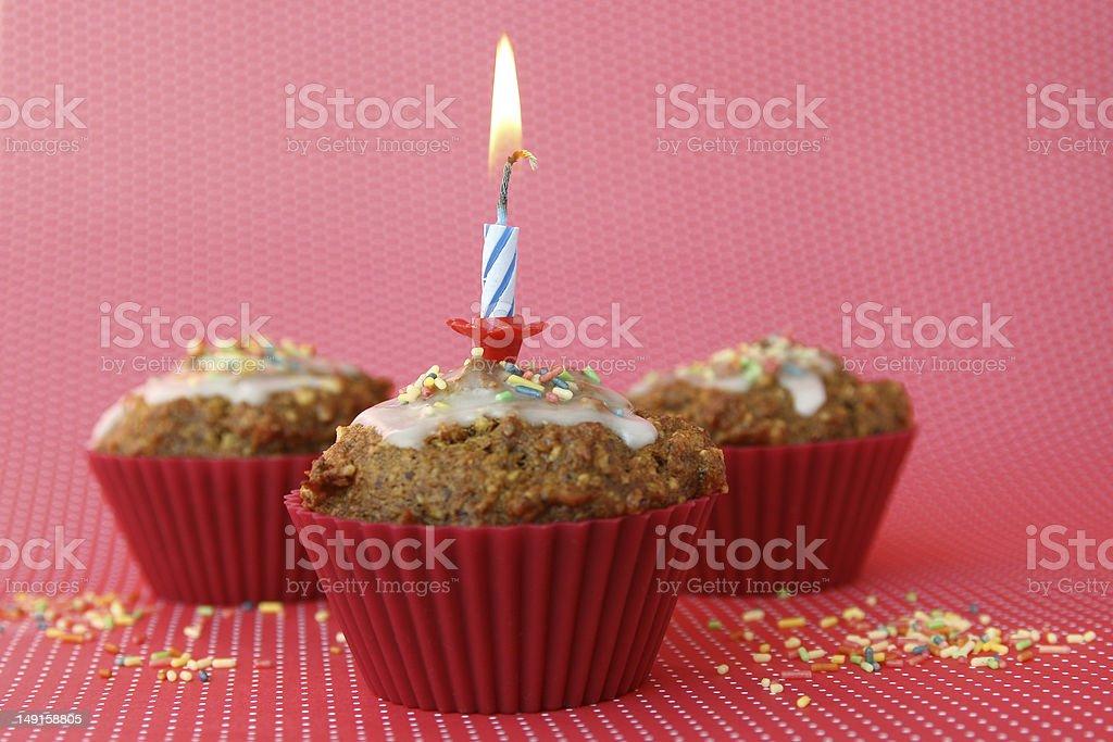 Three birthday muffins royalty-free stock photo