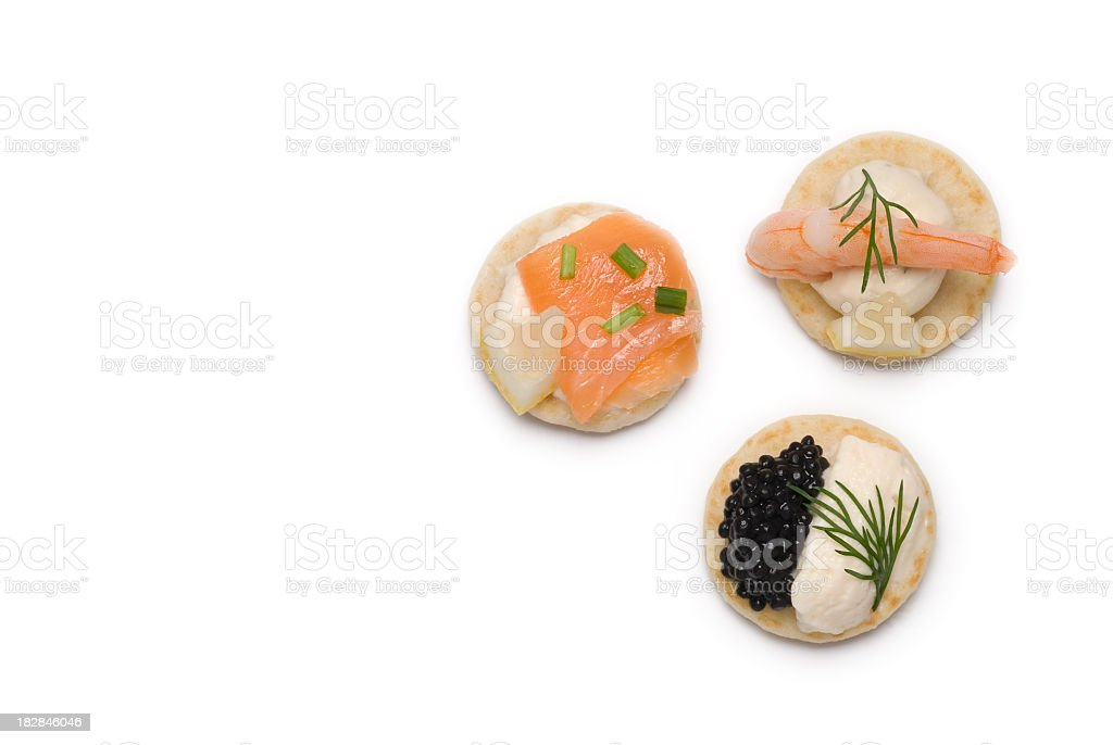 Three bite sized appetizers stock photo