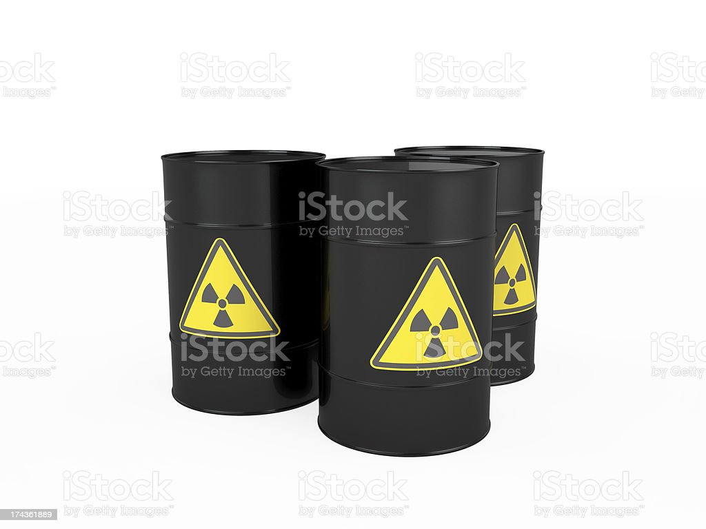 Three black barrels with radioactive symbol, isolated on white royalty-free stock photo