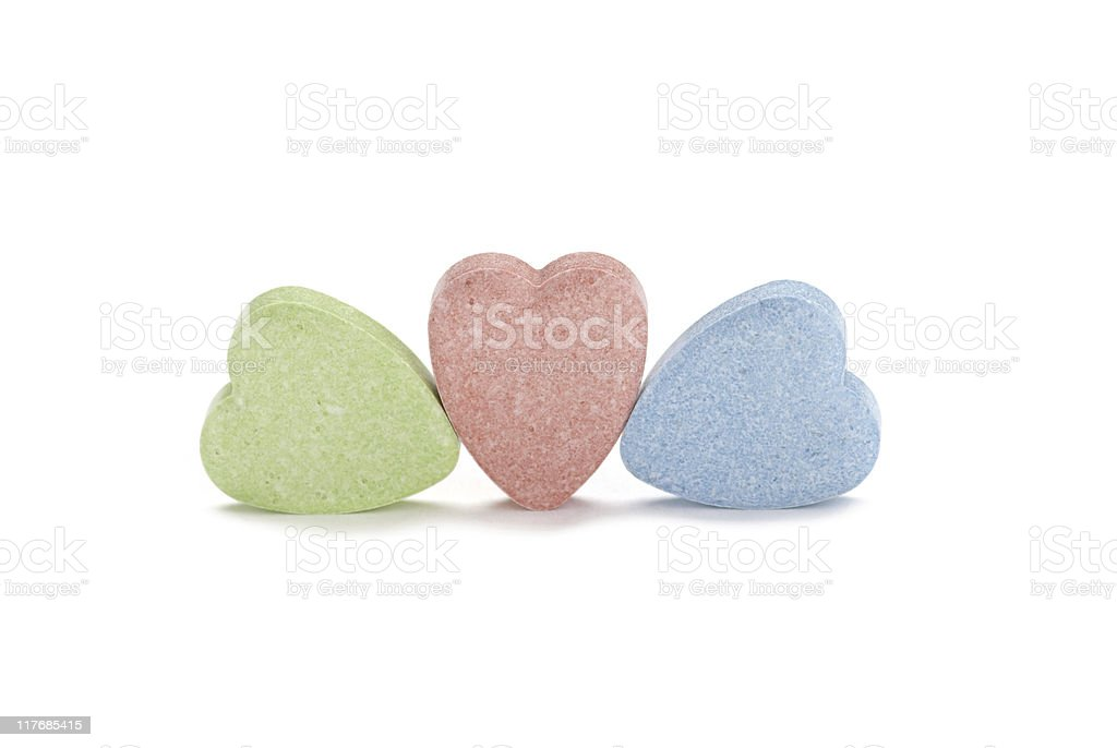 Three Blank Candy Hearts royalty-free stock photo