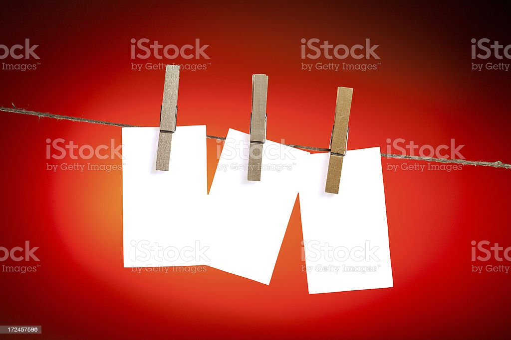 Three Blank Cards Hanging on a Clothesline royalty-free stock photo