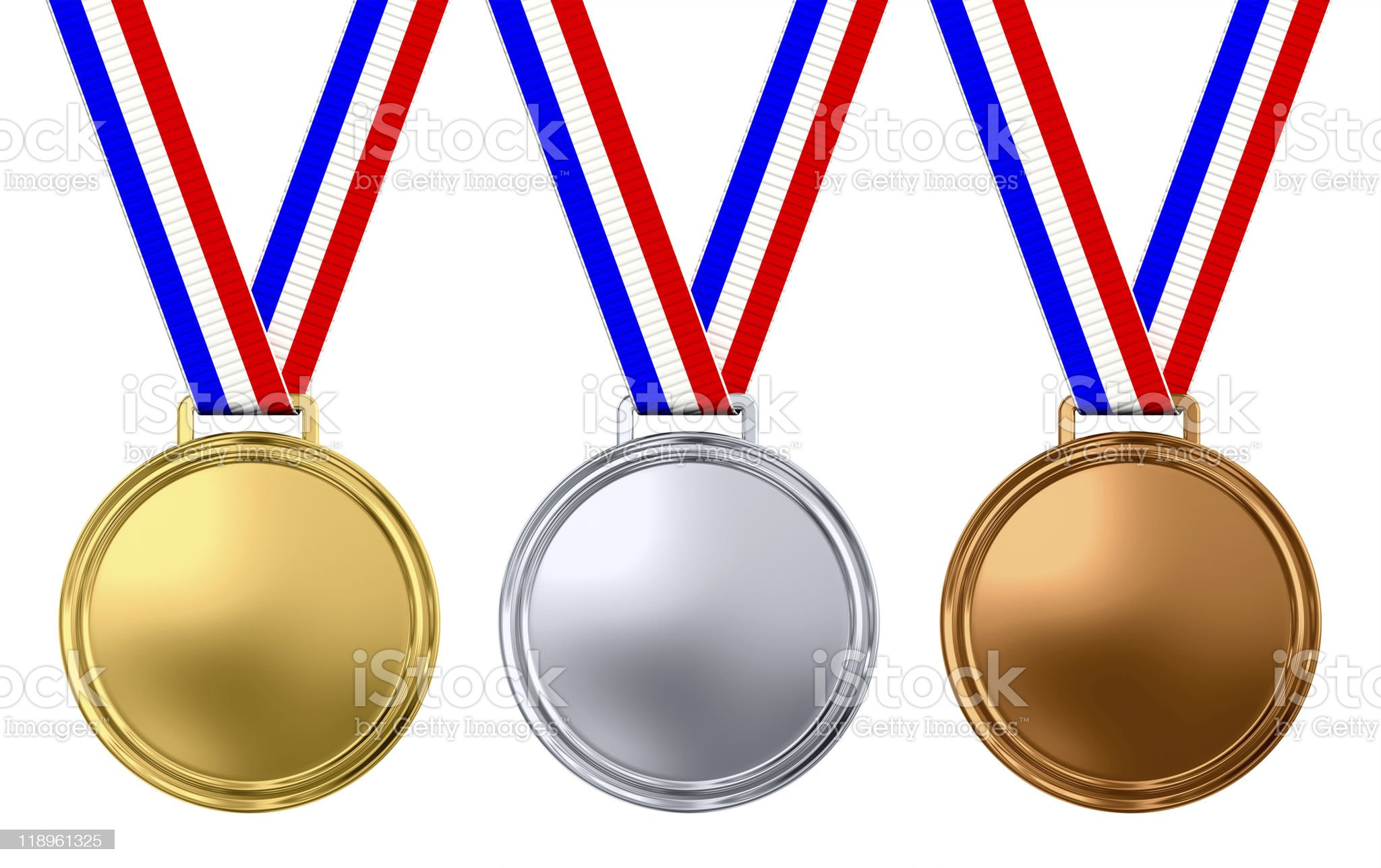 Three blank medals royalty-free stock photo