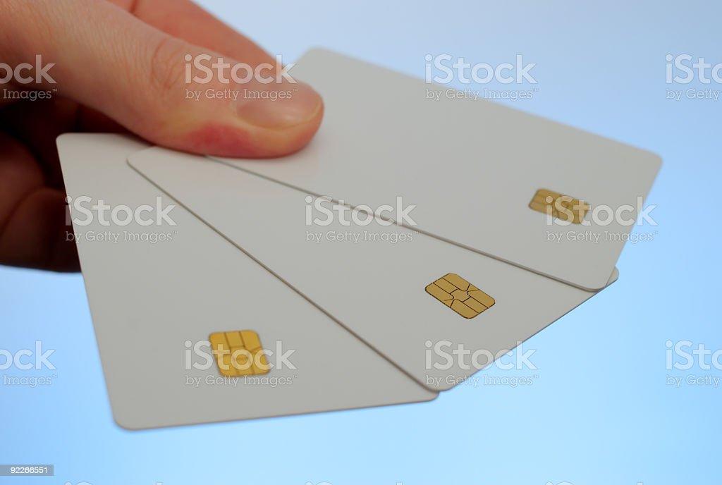 three blank, plain credit cards royalty-free stock photo