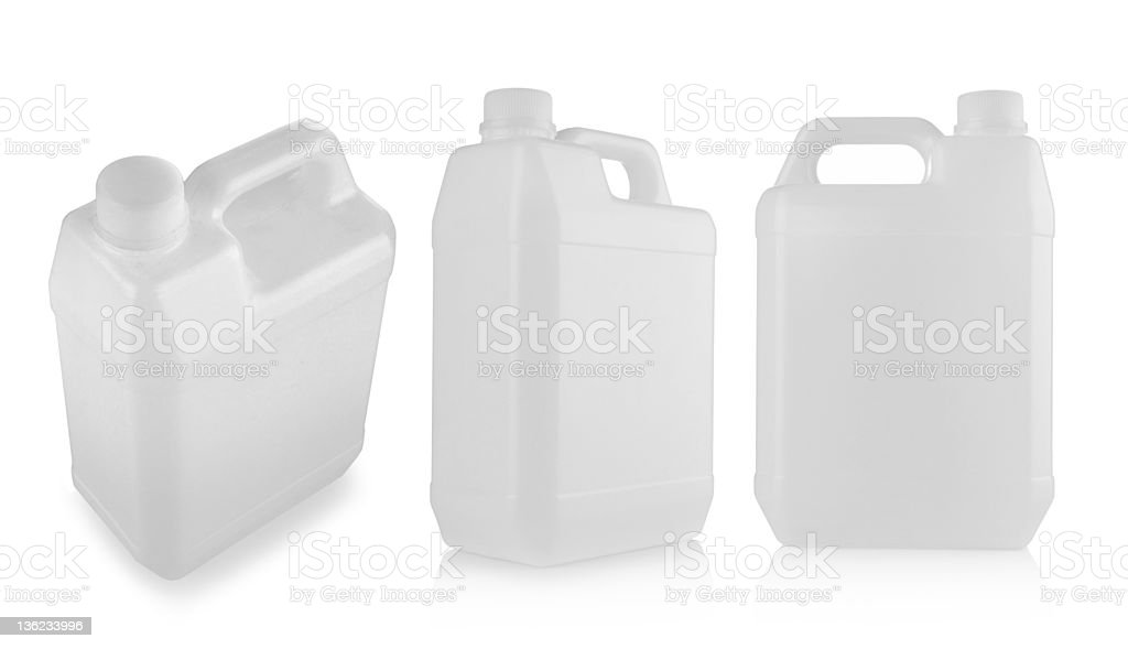 Three blank plastic containers stock photo