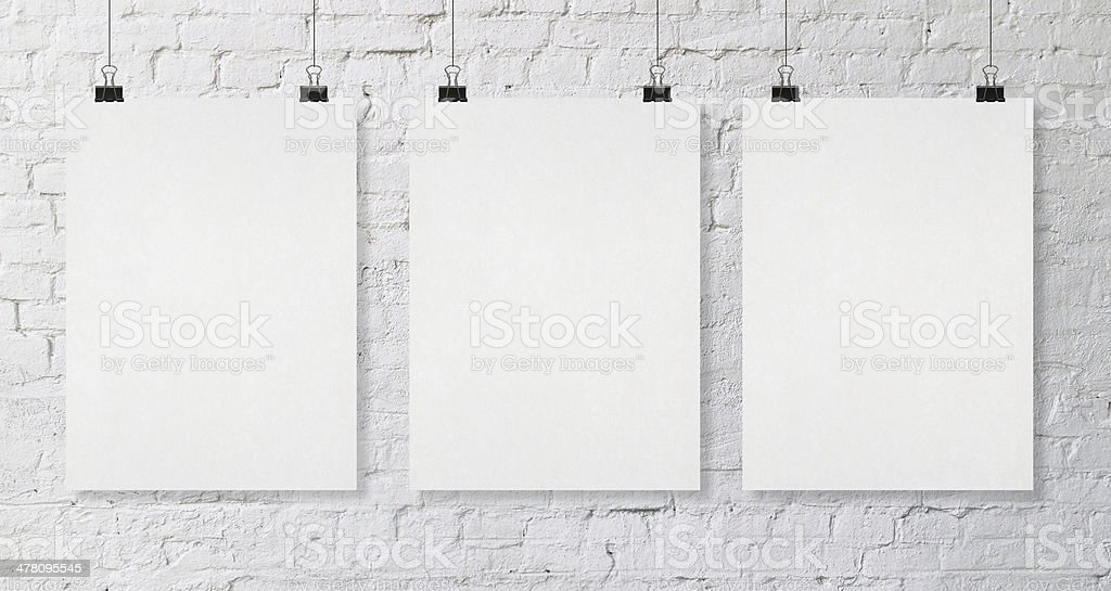 three blank poster stock photo