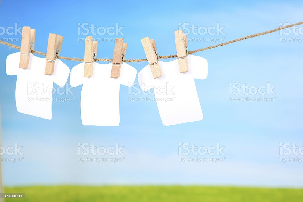 Three Blank Shirts on a clothes line royalty-free stock photo