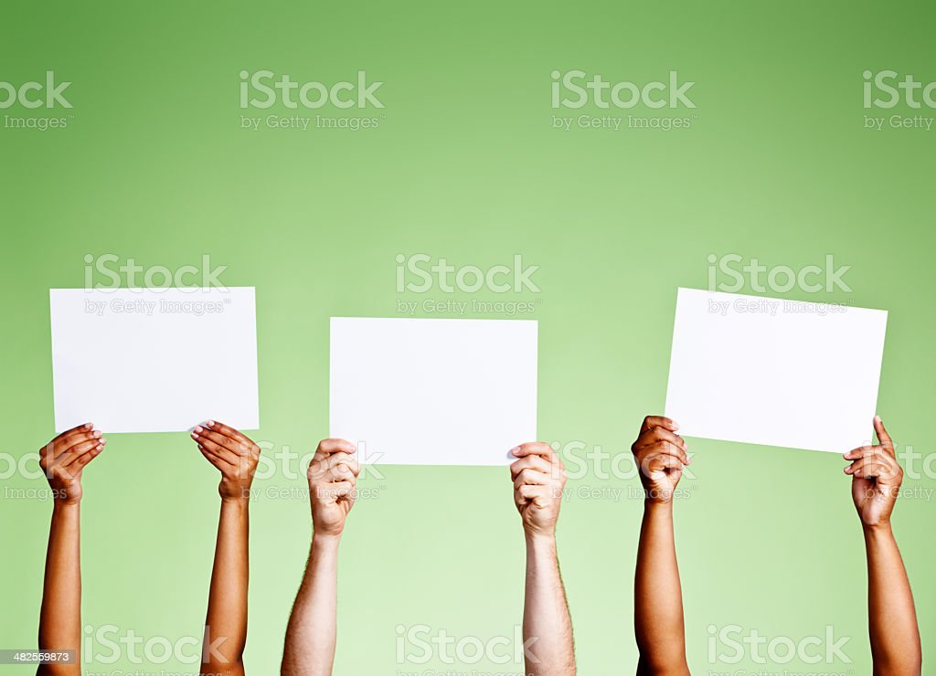 Three blank signs wait for your message or comment stock photo