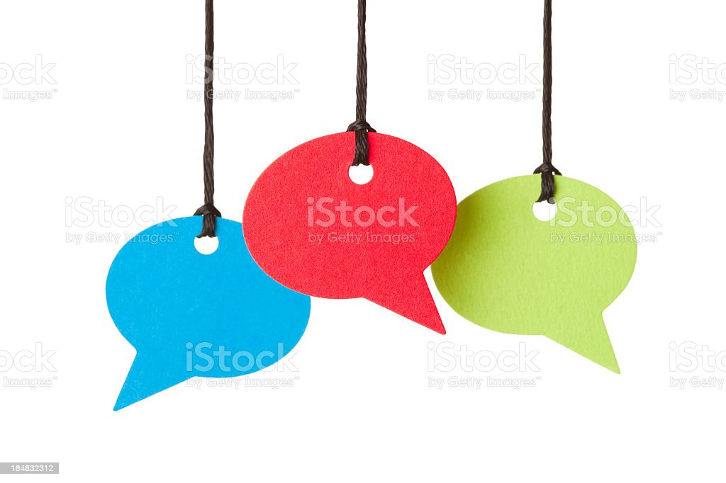 Three blank speech bubbles hanging from thread royalty-free stock photo