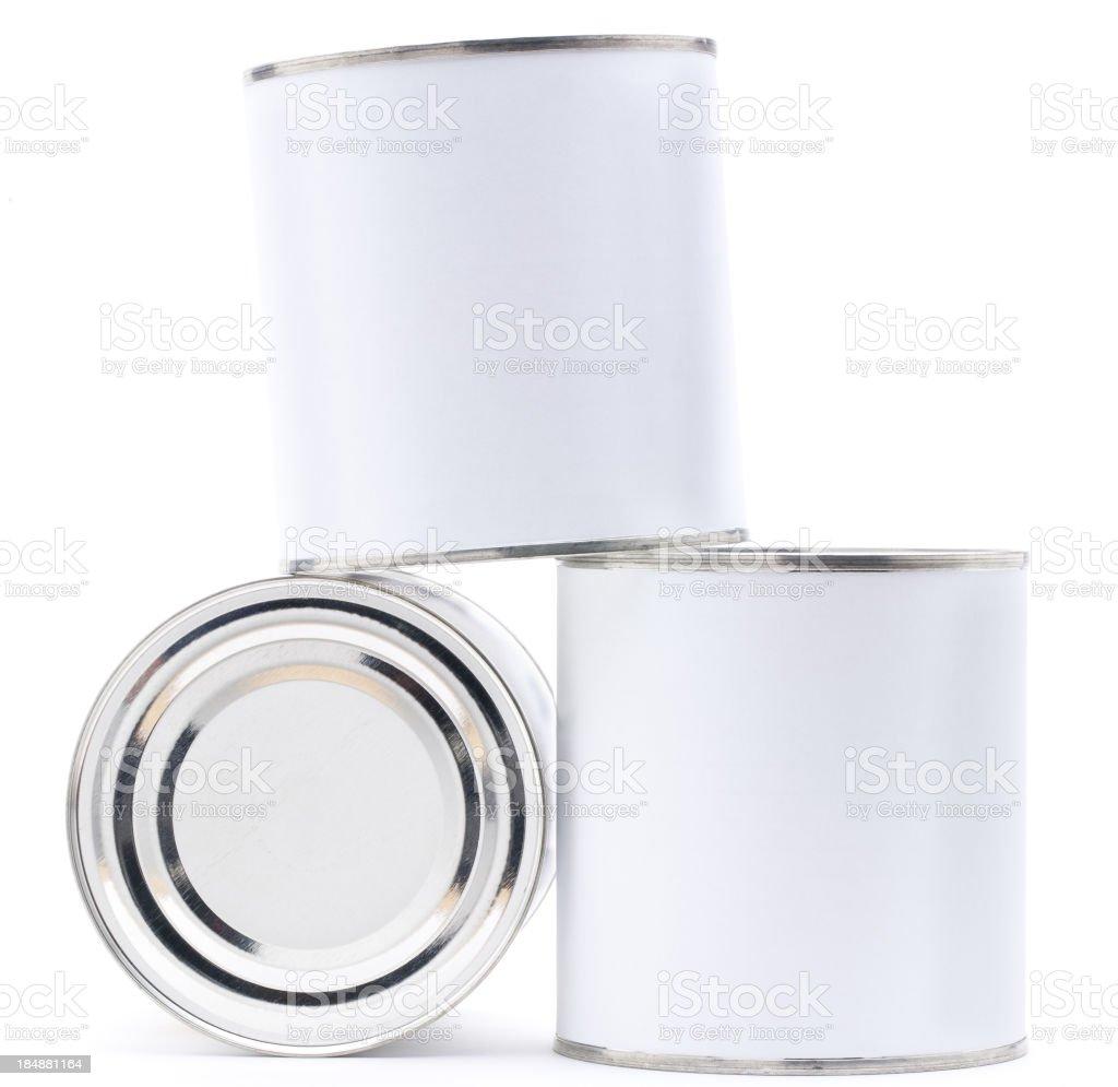 Three blank tin cans royalty-free stock photo