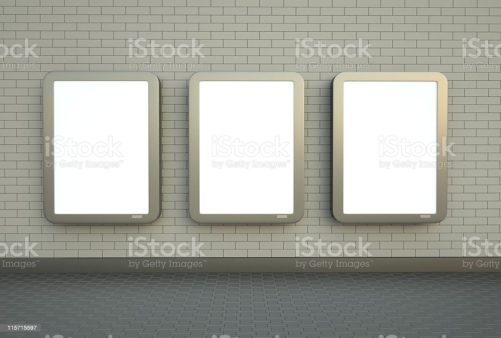 Three blank wall banners stock photo