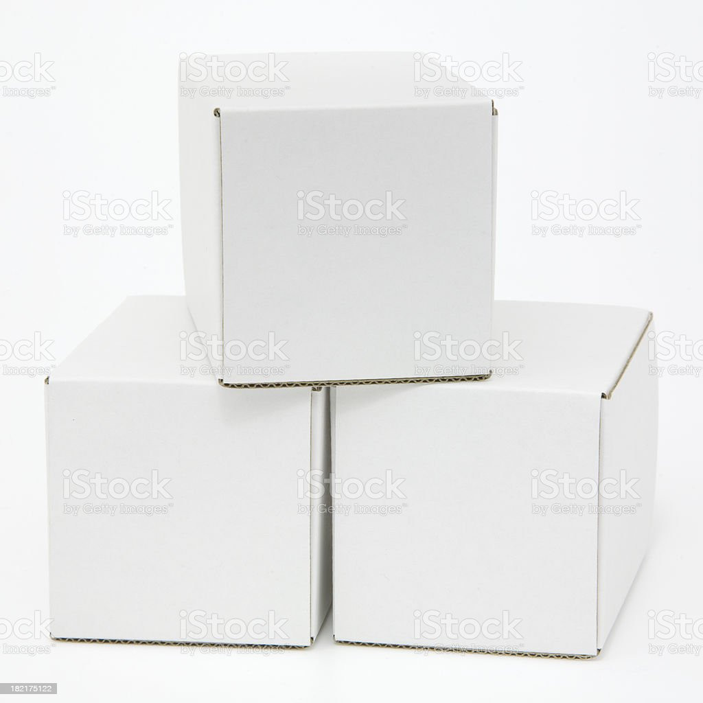 Three blank white cartons isolated royalty-free stock photo