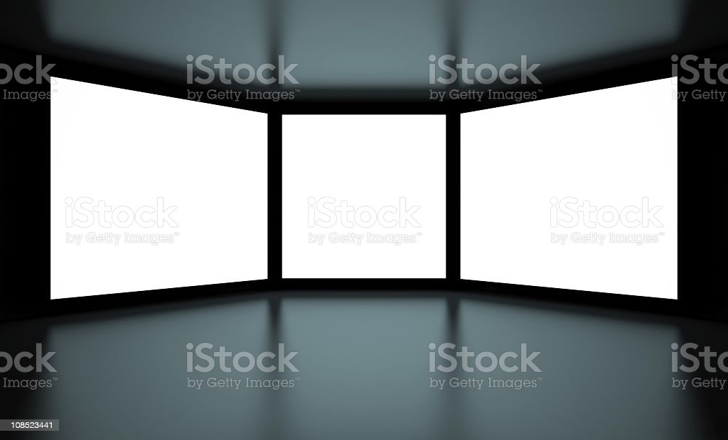 Three blank white screens with a dark bottom and top stock photo