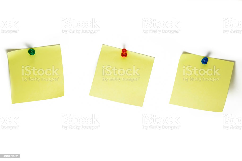 Three Blank, Yellow Post-It Notes - White Background stock photo