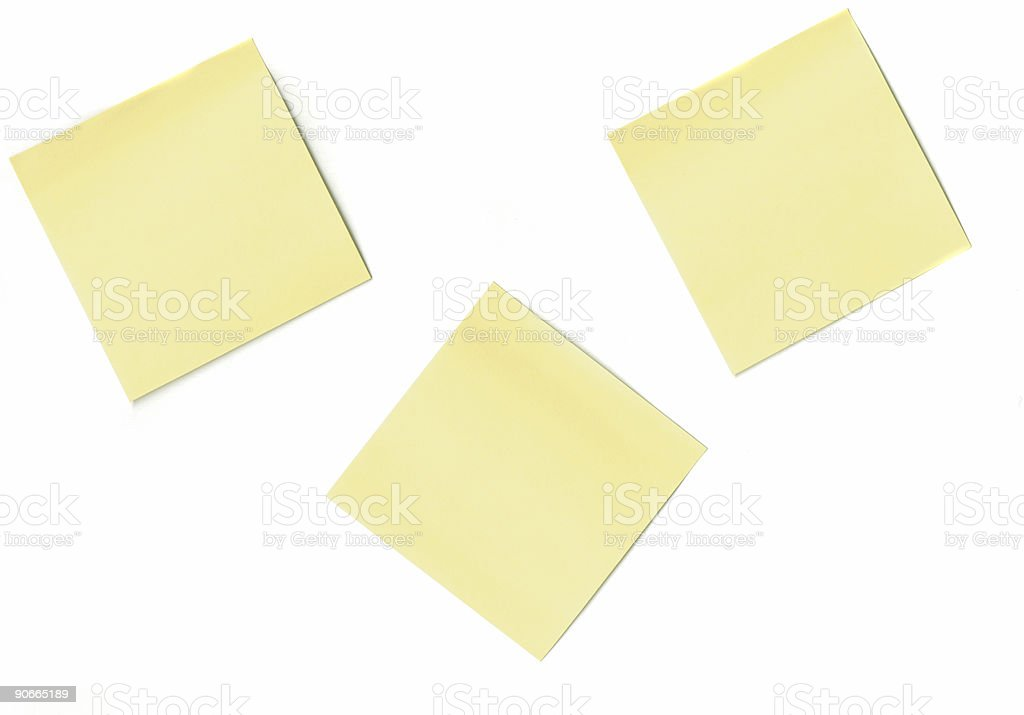 Three Blank, Yellow Post-It Notes - White Background royalty-free stock photo