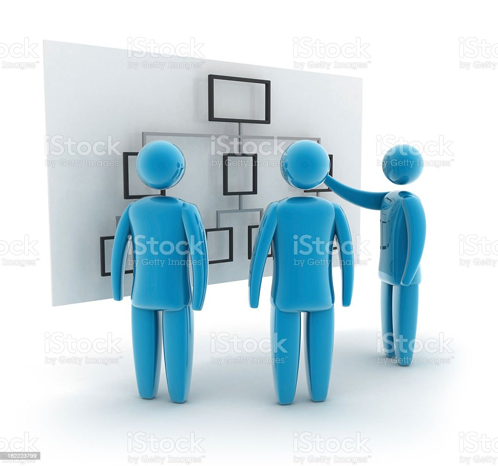 Three blue figures looking at a flow chart stock photo
