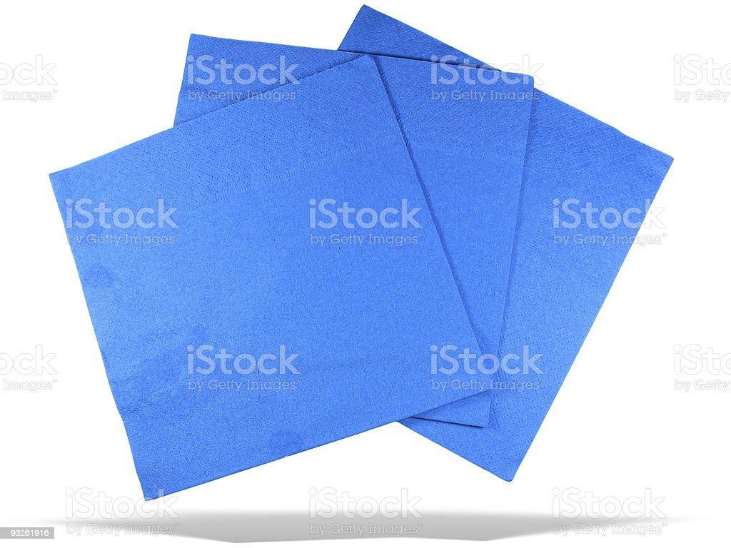 Três guardanapos de papel azul com sombra isolada sobre fundo branco foto de stock royalty-free