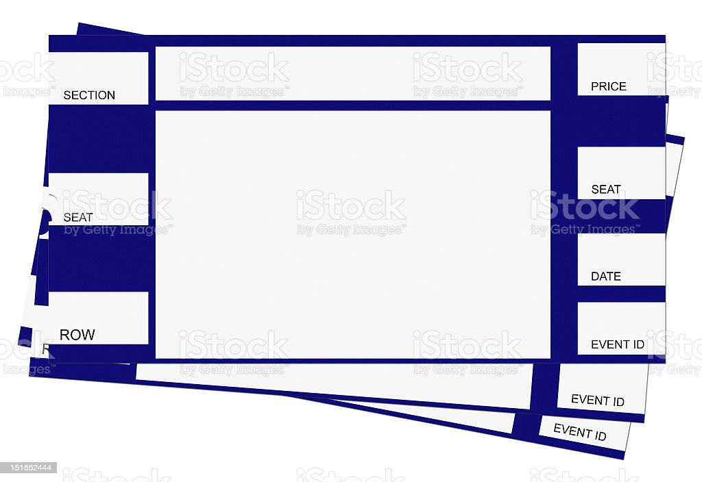 Three Blue Tickets with Clipping Path stock photo