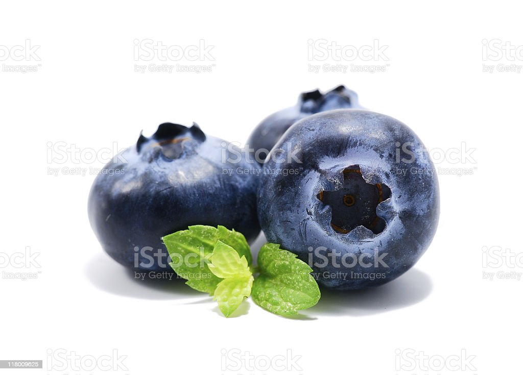 Three blueberries with green leaves on a white background royalty-free stock photo