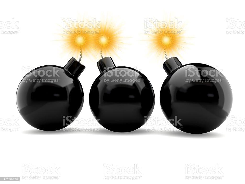 three bombs stock photo
