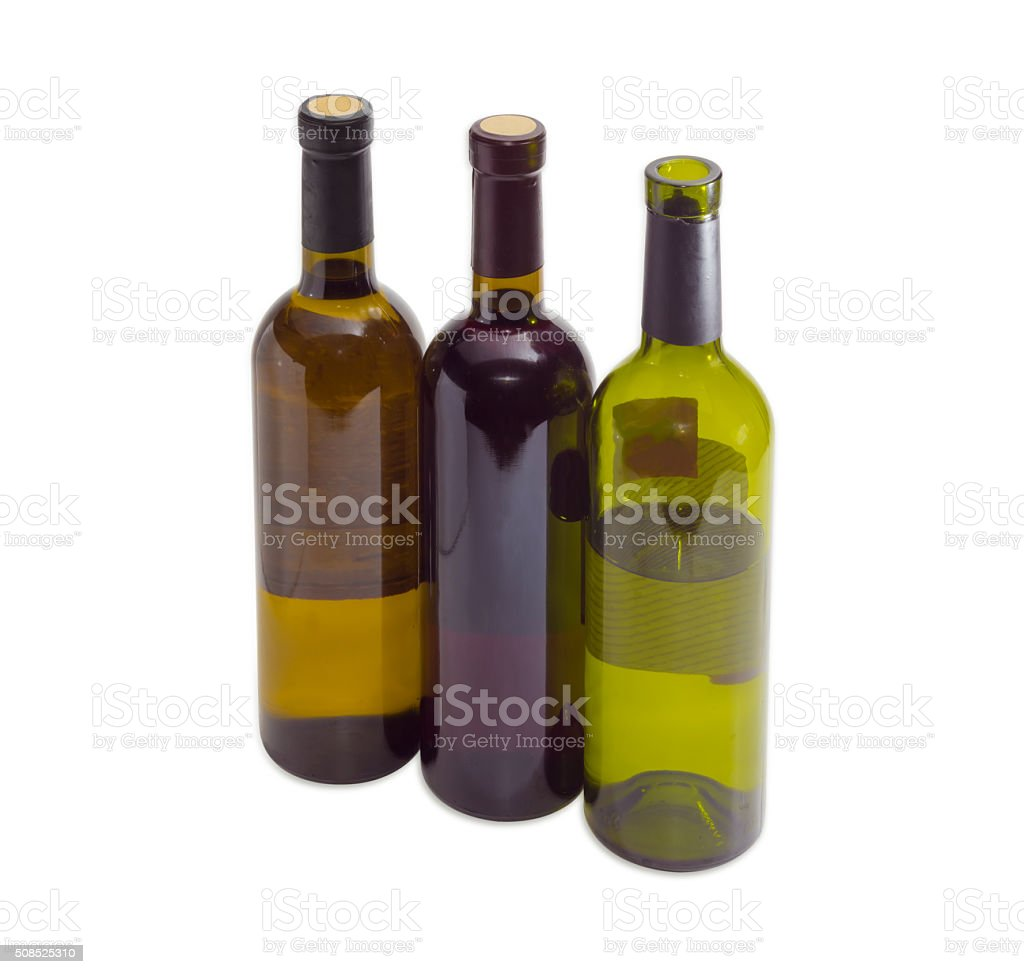 Three bottles of a various wine on a light background stock photo