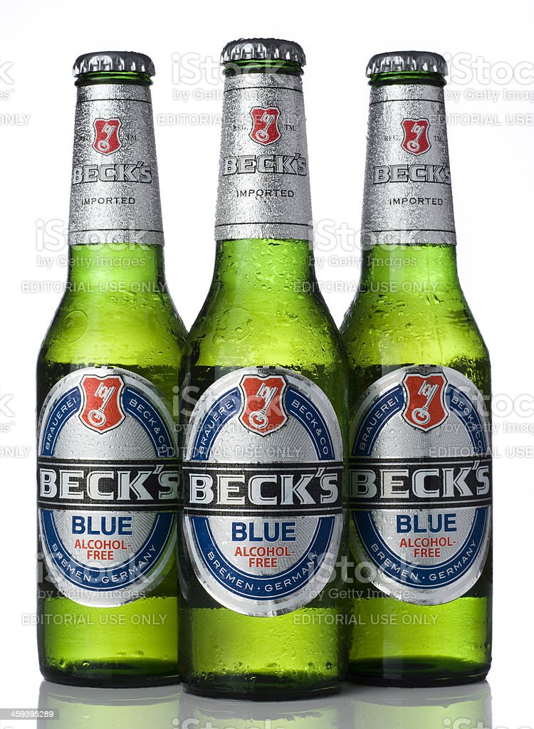 Three bottles of Beck's Blue stock photo