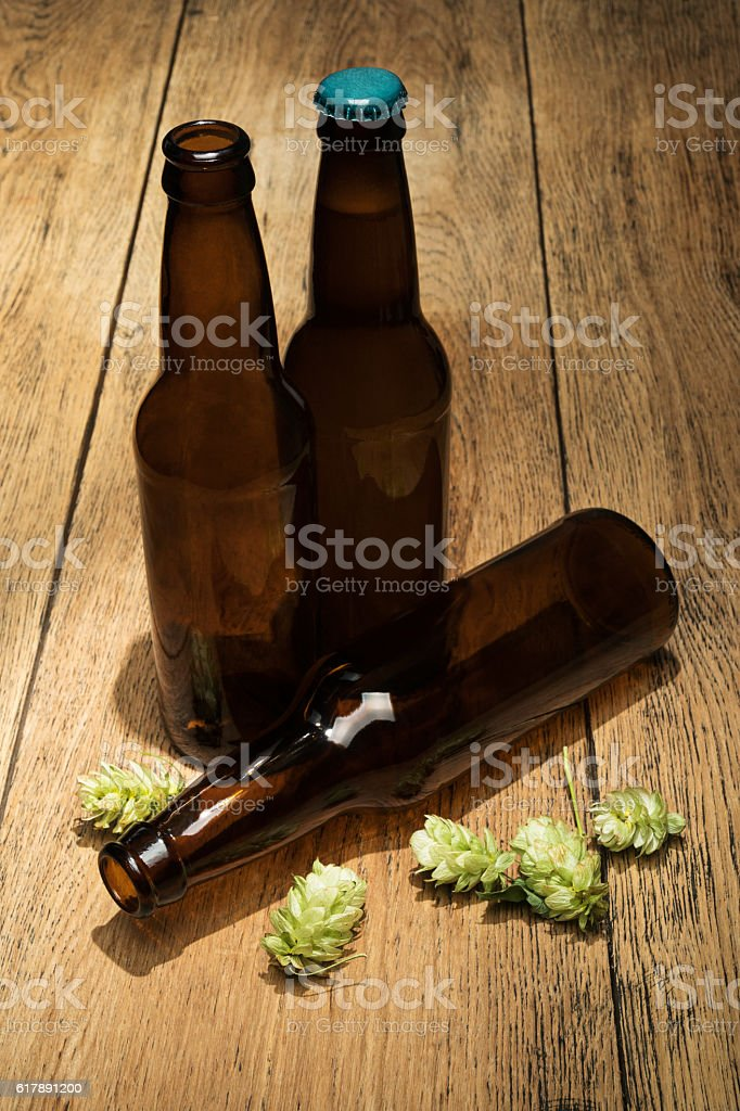 Three bottles of beer and hops stock photo