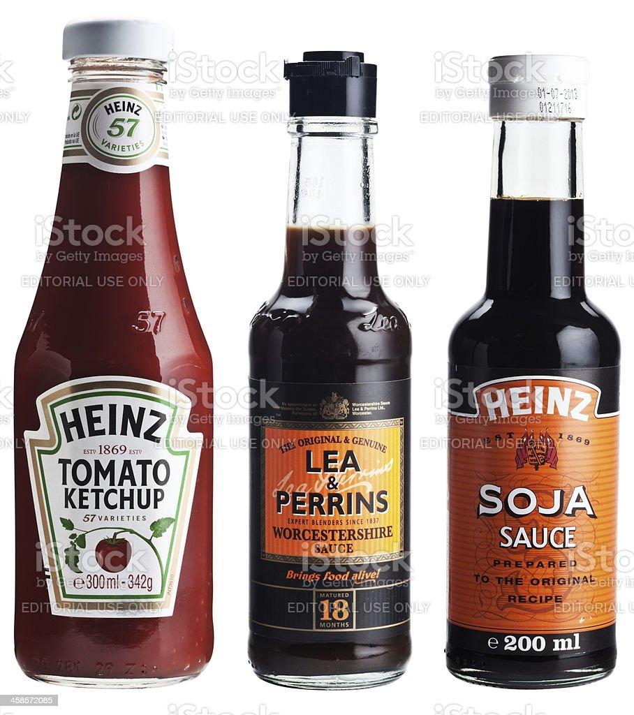 Three bottles of popular sauces. stock photo
