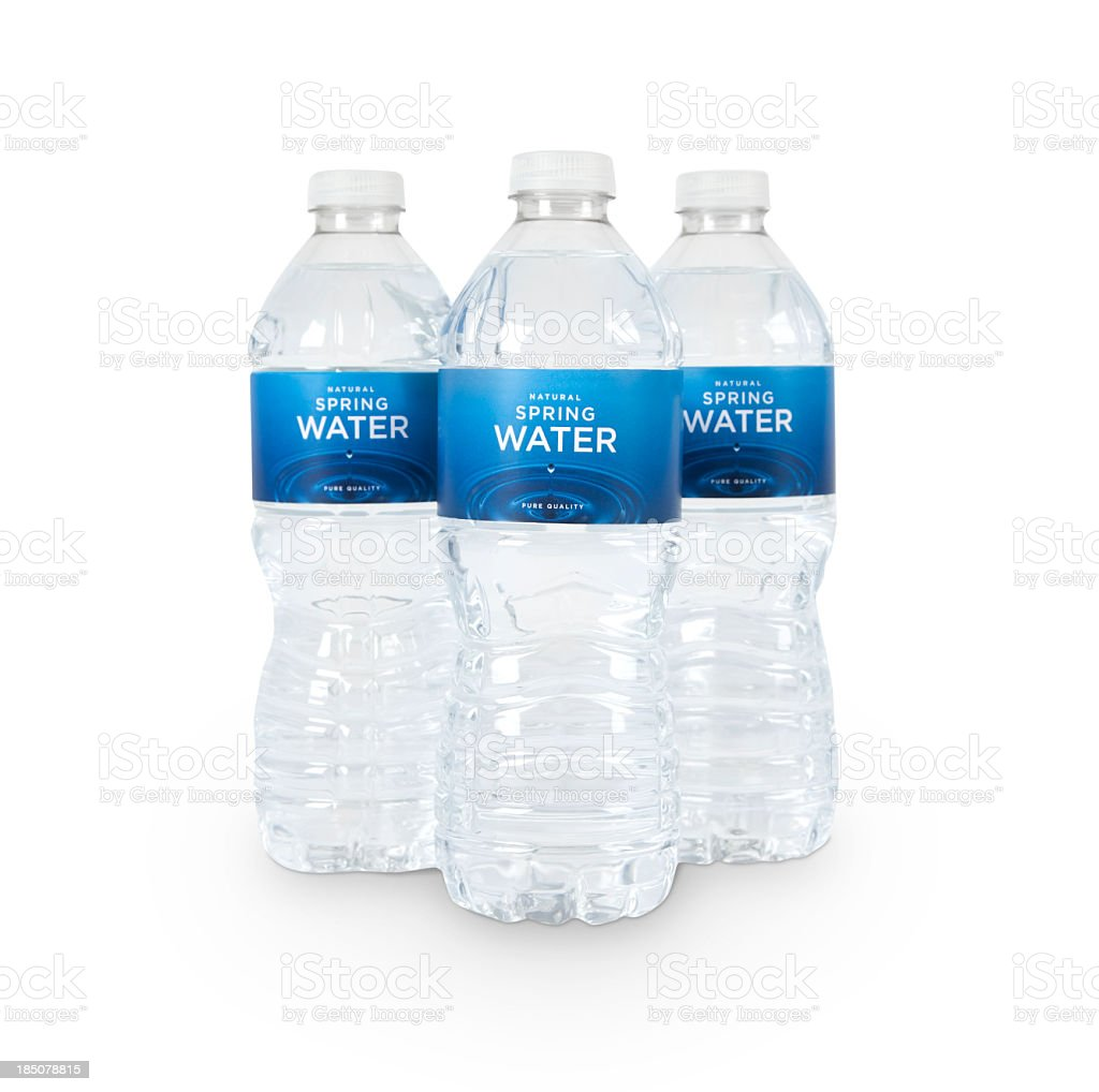 Three Bottles of Water (fictitious) + Clipping Paths stock photo