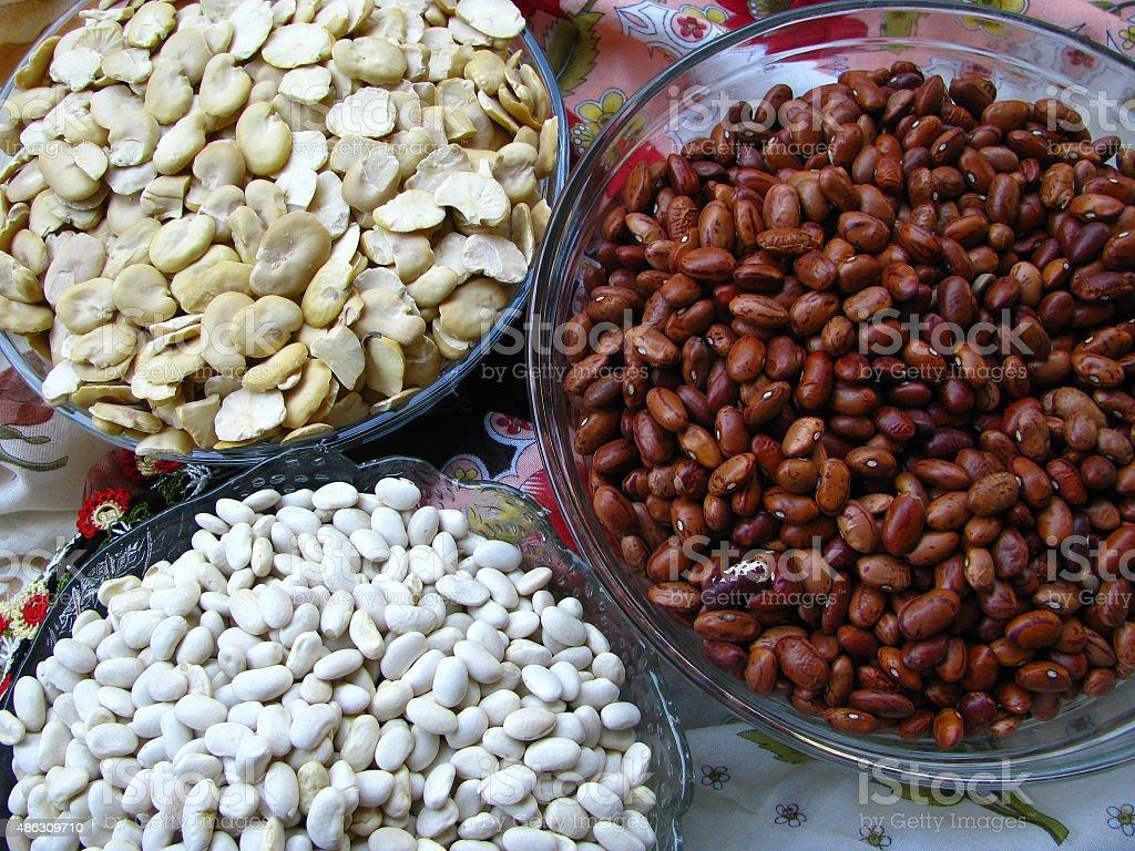 Three Bowls of Beans stock photo