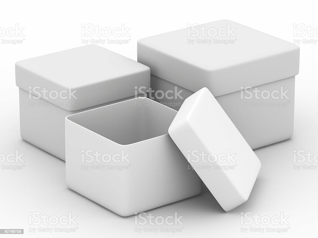 Three boxes on white background. Isolated 3D image royalty-free stock photo