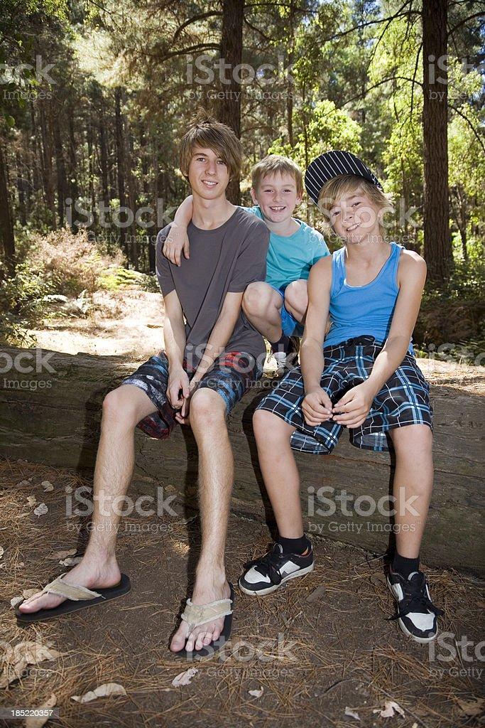 Three Boys Camping royalty-free stock photo