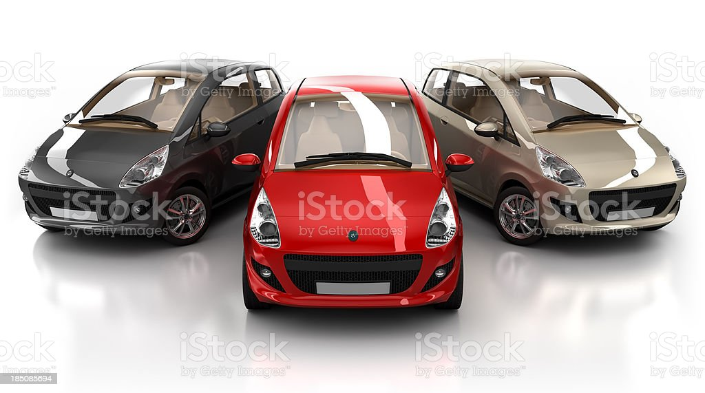 Three brandless hybrid cars with clipping path royalty-free stock photo